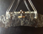 50s Vintage Marbleized Grey Carved Lucite Purse