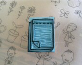 Hand carved rubber stamp - notepad