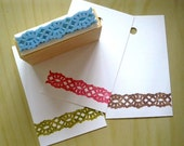 Hand carved rubber stamp - lace print, mounted on wood