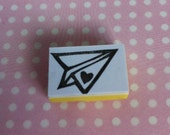 Hand carved rubber stamp - paper aeroplane with a heart, love letter, heart