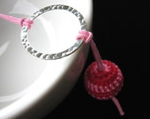 Crochet Pink and Silver Necklace - Life is a Bowl of Cherries