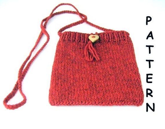 Knitted Shoulder Bag Pattern : pdf Knitting Pattern Small Shoulder Bag Red Heart by Arly