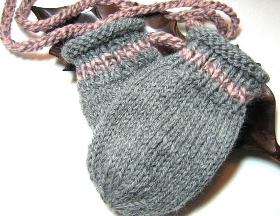 Knit Thumbless Baby Mitts Mittens on a String - grey and pink