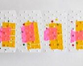 10 Embossed Washi Tape Tags Pink Orange Unthreaded