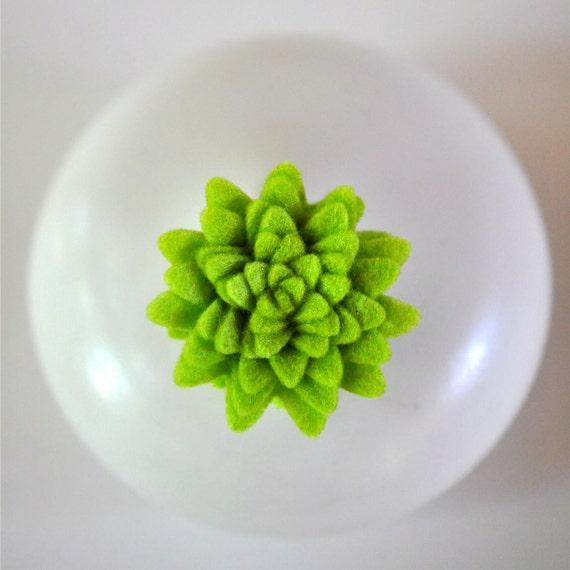 4 Handmade Felt Flower Adornments Lime