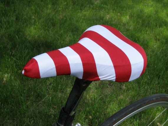 Bicycle Saddle Cover - STANDARD size - Red and White Stripe