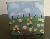 Miniature Original Acrylic Painting - Field of Daisies - FREE SHIPPING