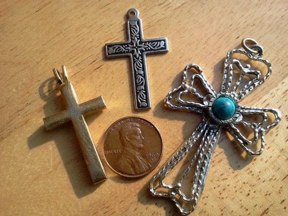 3 Metal Cross Pendants Jewelry Making Supplies-Destash,supplies