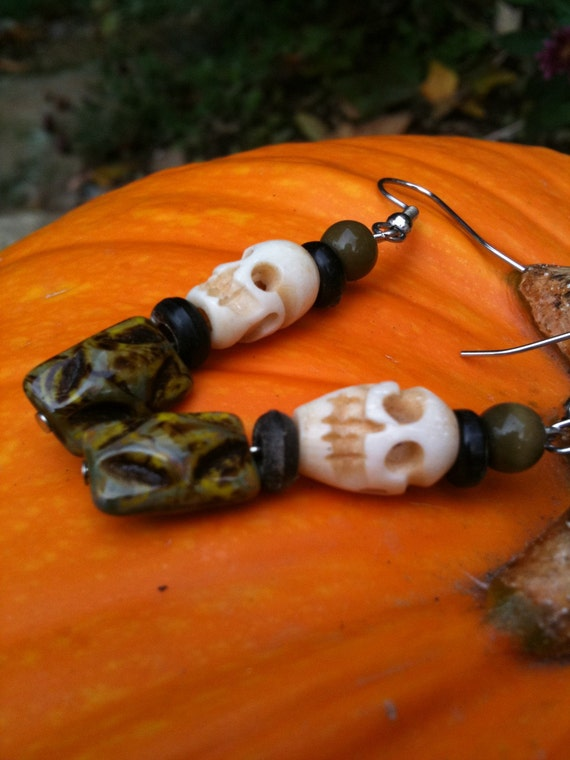 Bone Stone Skull Earrings