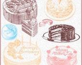 20 Delicious Dessert Cakes Photoshop Brushes Set