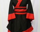 Custom Black and Red Kimono Dress with Descending Asymmetric Hem
