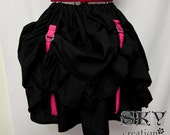 Bustle Up Skirt In Black and Hot Pink
