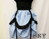 Baby Blue X Black Ruffle and D Ring Skirt