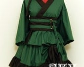 Custom Forest Green X Black Kimono Dress Set with Ruffles and Drings
