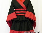 Custom Black X Red Kimono Dress Set