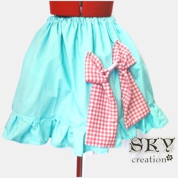 Seafoam Green X Pink Gingham Loli Bow Skirt Ready To Ship