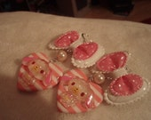 Sugarbunnies Pink And White Striped Heart And Dotted Bow Earrings