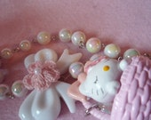 RESERVED Hello Kitty Kawaii Basket And Bow White Faux Pearl Necklace