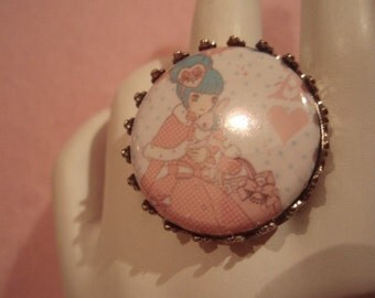 Sweet Lolita Pastel Pink and Aqua Girl Round Button Silver Toned Ring