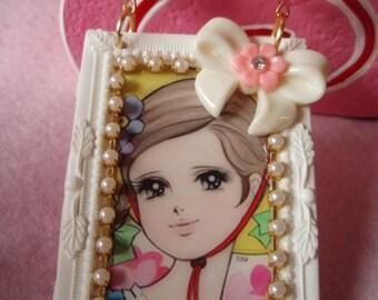 Vintage Anime Bonnet Girl Flower Bow Chunky Beads Big Frame Pendant Necklace