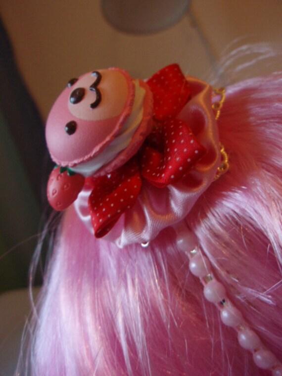 Pink Teddybear Macaroon Strawberries And Cream Pink And Silver Sweet Lolita Headband