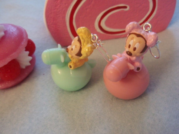 Baby Mickey And Minnie Mouse Playing WIth Balloon Horses Dangle Earrings