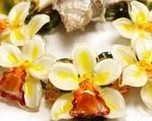 Orchid Cattleya Glamour Thai Sunshine Lampwork Beads by JOPANDA (SRA)
