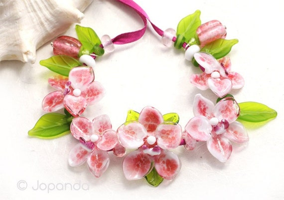 Orchid Phalaenopis Magenta Lampwork Beads by Jopanda (SRA)