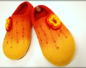 Red/ orange/ yellow- handfelted slippers/ home shoes HANDMADE ORDER