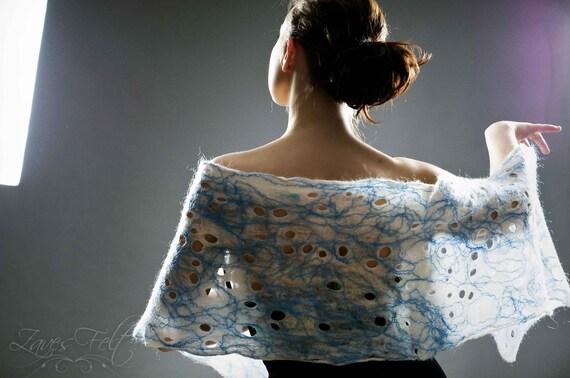 Light ant thin wool cobweb felt scarf, wrap, shawl HANDMADE TO ORDER