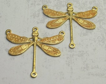 2 Tiny Saffron Dragonfly Charm Links