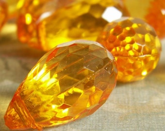 Soft Amber Briolette faceted acrylic teardrop 25x15