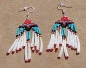 NATIVE AMERICAN beaded Eagle Earrings with DETALIUM Shells