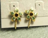 Vintage Rhinestone Earrings - Clip Back