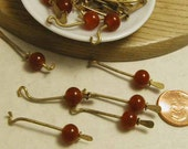 Brass Red Bead Dangles - 12 pcs.