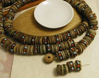 Yak Bone Prayer Beads - Turquoise Coral Inlay - Metal Stripe Inlay - 8 pcs. - YKP630