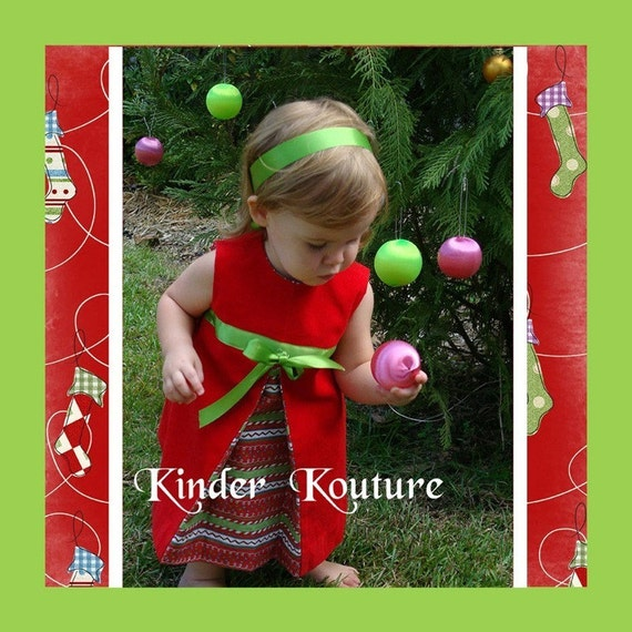 Girl s vintage christmas dress size 5 6 7 8 by kinderkouture