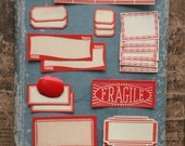 Reserved for Sari in Finland....58 red bordered valentine labels and dennison seals