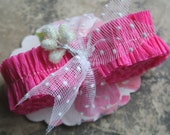 RUFFLE SALE 20% OFF Vintage Crepe Paper Ruffle Bright Pink Candy Heart - Vintage Valentine Ruffled Crepe Paper Trim - Valentine Supplies