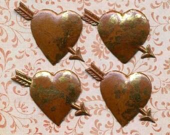 Vintage Embossed Paper Hearts - 8 German Heart Die Cuts - Wedding Inviation Hearts - New Old Stock Ephemera  Valentine Embossed  Hearts