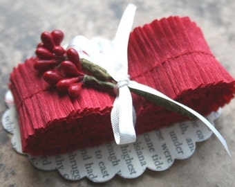 Holiday Red Crepe Paper Ruffles - 1 Inch Handmade Christmas Red Paper Ruffle Trim - DIY Valentines...forever love