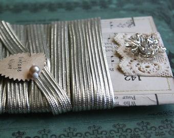 Vintage Metallic Silver Trim Card - 9 feet Vintage Narrow 5/16 Inch Holiday Silver Sewing Trim - 1920s Vintage Christmas Stocking Trim -