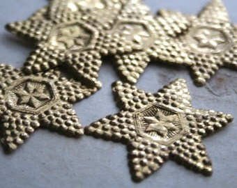 5 Vintage German Embossed Gold Paper Stars - Gold Christmas Holiday Dresden Star - Vintage Ephemera