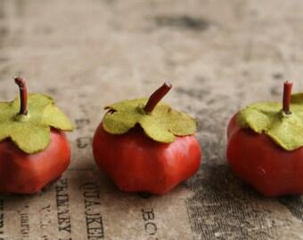 12 Miniature Pumpkin Decorations Primitive Halloween Supplies - Fall Millinery Stems - Wired Pumpkin Stems for Wreaths and Garlands