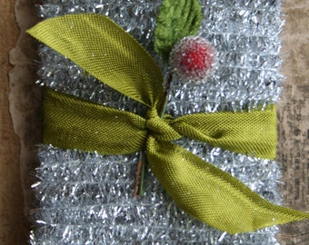 Holiday Silver Tinsel Trim - Christmas Tinsel String Card - Package Gift Wrap Supply - 12 feet Tinsel Trim - 12'
