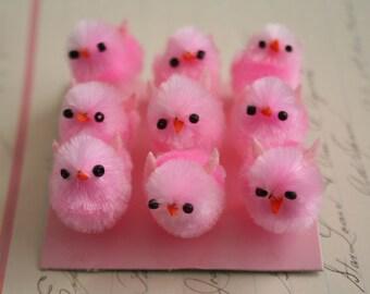 Baby Pink Chenille Chicks - Vintage Style Easter Chicks - 9 Doll Sized Baby Chicks - Easter Basket Filler - DIY Easter Diorama - Spring Nest