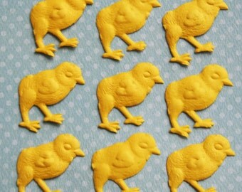 9 Embossed Yellow Easter Chicks - Made In Germany Embossed  1 Inch Matte Paper Chicks - Spring Chick Paper Decorating and Packaging Supplies
