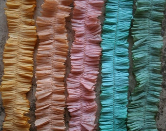 Crepe Paper Ruffles Hand Dyed Spring Colors - 5 Colors Hand Dyed Crepe Paper Trim Garlands - Easter Party Basket Crepe Paper Streamers