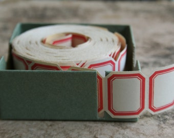 "30 Vintage Red Border Dennison Labels - Tiny Vintage Labels - Red Dennison 1"" Labels - Pack of 30 Original Vintage"