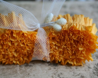 Crepe Paper Ruffles Sunflower Yellow Hand Dyed -  1 Inch Summer Ruffled Paper Trim - Handmade Crepe Paper Garland - 32 Inches Packaging Trim